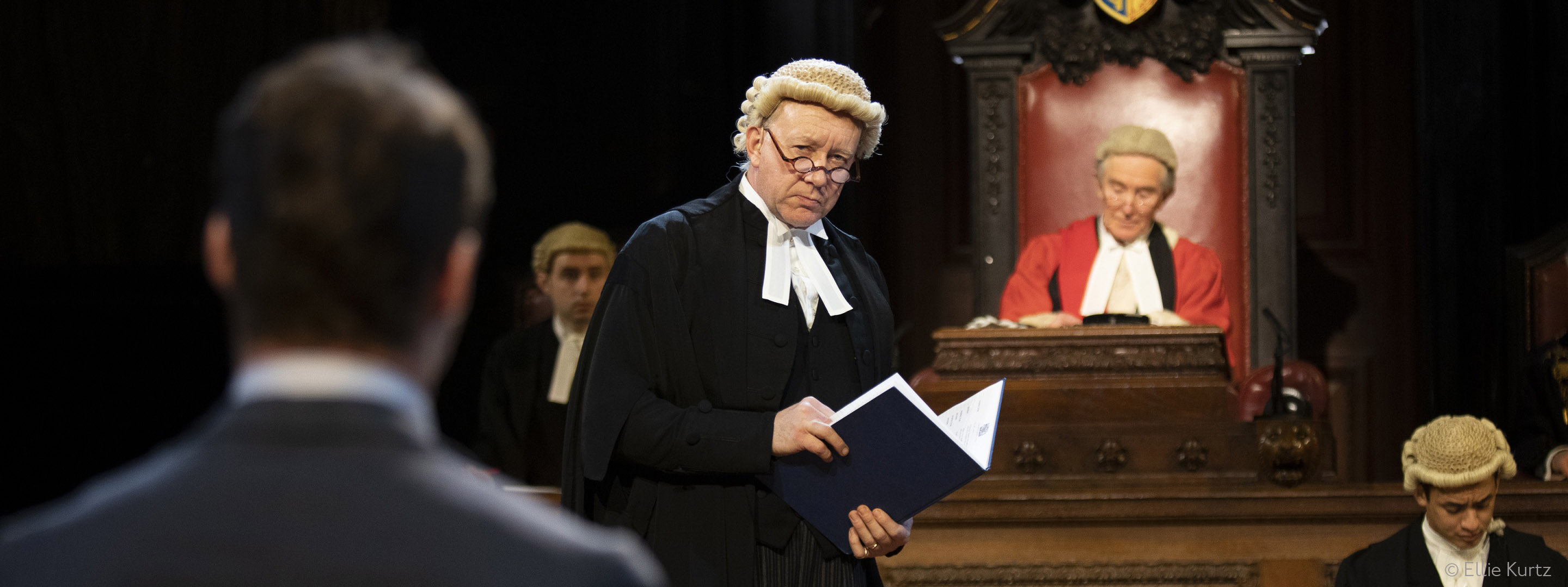 A judge in a courtroom